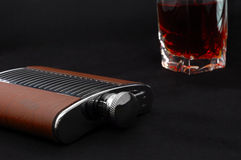 Opened metal flask for alcohol Stock Photo