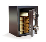 Opened metal safe with gold bars isolated Stock Photo