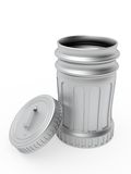 Opened metallic trash can with lid Stock Image