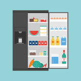 Opened modern refrigerator full of food Stock Photography