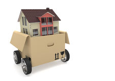 Opened Moving Box House Stock Photos