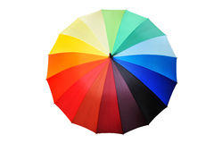 Opened multicolored umbrella isolated Royalty Free Stock Photos