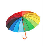 Opened multicoloredd umbrella handle down isolated Stock Photos