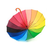 Opened multicoloredd umbrella handle up isolated Stock Photo