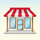Opened a new store useful things with half striped awning Stock Photo