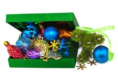 Opened New Year green box with twig Christmas tree Stock Photo