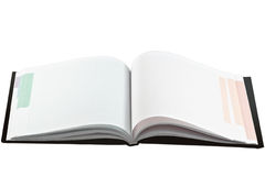 Opened note book with blank multicolored pages Royalty Free Stock Image