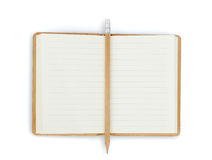 Opened note book on white background Stock Photography