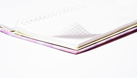 Opened note pad. With blakk linen sheets isolated Stock Photography