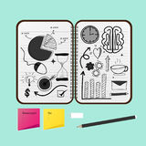 Opened Notebook With Business Project Drawings. 