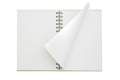 An opened notebook paper curled Stock Photos