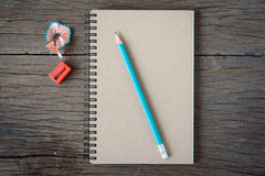 An opened notebook with pencil and Pencil Stock Photo