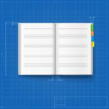 Opened notebook stylized drawing Stock Images
