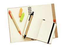 Opened notebooks and pens Royalty Free Stock Photography