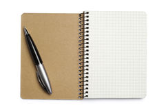 Opened notepad and pen Royalty Free Stock Image