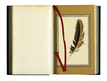Opened old book. Isolated with a red ribbon bookmark. over white background Royalty Free Stock Photos