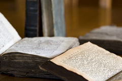 Opened Old Books. With yellowed papers royalty free stock image