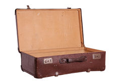 Opened old brown suitcase Royalty Free Stock Images