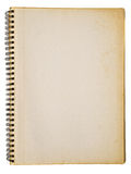 Opened old notebook. Yellowed back cover of spiral notebook isolated on white background Stock Images