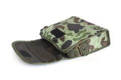 Opened old small camouflage military  bag Stock Images