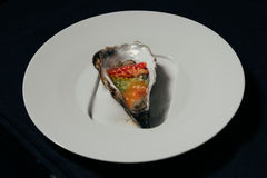Opened oyster food. On dish Stock Image