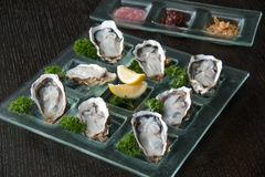 Oysters on glass plate with spicy sauce. Opened Oysters on glass plate with spicy sauce Stock Images