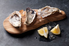 Opened oysters and lemon Royalty Free Stock Photography