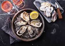 Opened Oysters and rose wine. Opened Oysters on metal plate and rose wine on dark marble background stock image