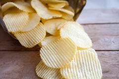 Opened pack with potato chips Royalty Free Stock Photography