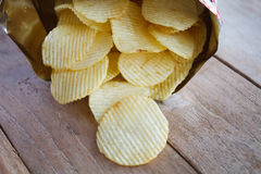 Opened pack with potato chips Royalty Free Stock Photo