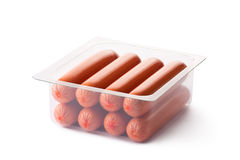 Opened pack of sausages Stock Photo
