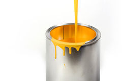 Opened paint bucket with dripping stock photography