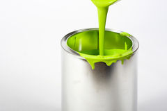 Opened paint bucket with dripping Royalty Free Stock Photo