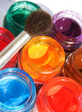 Opened paint buckets royalty free stock images