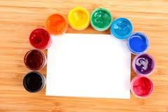 Opened paint buckets Stock Image