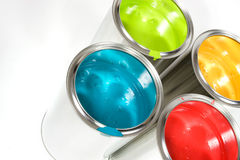 Opened Paint Buckets Colors Royalty Free Stock Photo
