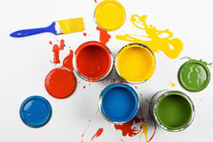 Opened Paint Buckets Colors Royalty Free Stock Photography