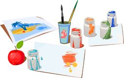 Opened paint buckets colors vector illustration