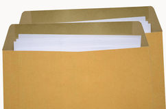 Opened paper envelope. Brown envelopes with white paper Royalty Free Stock Photography
