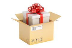 Opened parcel with gift box, gift delivery concept. 3D rendering Stock Photo