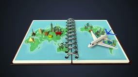Opened passport, travel world tour concept. Opened passport, travel world tour concept(included alpha&#x29 stock footage