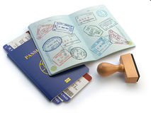 Opened passport with visa stamps and airline boading pass ticket vector illustration
