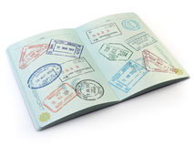 Opened passport with visa stamps on the  pages isolated on white Stock Image