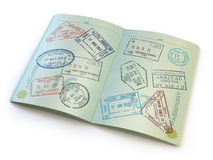 Opened passport with visa stamps on the  pages  on white. 3d Stock Photography