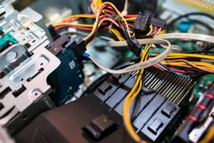 Opened personal computer , visible components. Close up shot, copy space stock image