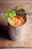 Opened peut du potage aux légumes de lentille images stock