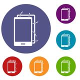 Opened phone icons set. In flat circle red, blue and green color for web Royalty Free Stock Photos