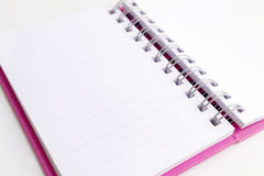 Opened pink note book Stock Image