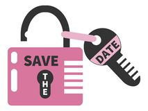 Opened pink padlock and key  with words SAVE THE DATE. Isolated Stock Images