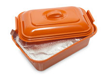 Opened plastic box with foodstuff Royalty Free Stock Image